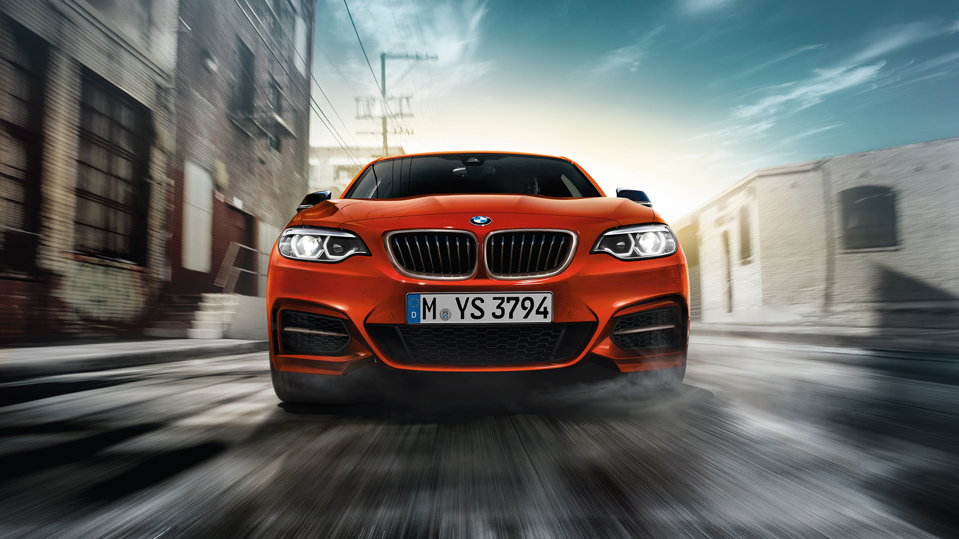 Frontdesign BMW M240i Coupé F22 2017 Sunset Orange metallic Frontansicht